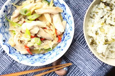 poulet poche puis cuit au wok
