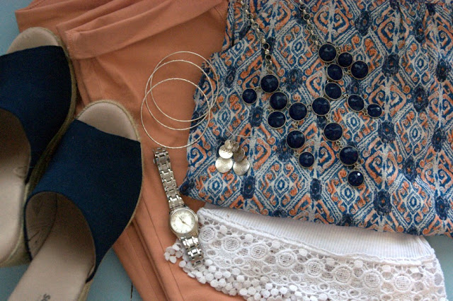 navy espadrilles with blush pants and geometric blouse