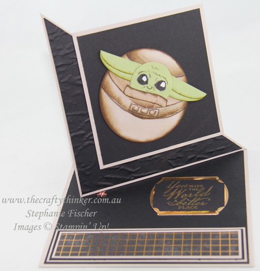 #thecraftythinker #cardmaking #stampinup #babyyodapunchart #starwarscard #funfold , Baby Yoda Punch Art card, Square Twisted Easel Card, Fun Fold, Stampin' Up Demonstrator, Stephanie Fischer, Sydney NSW