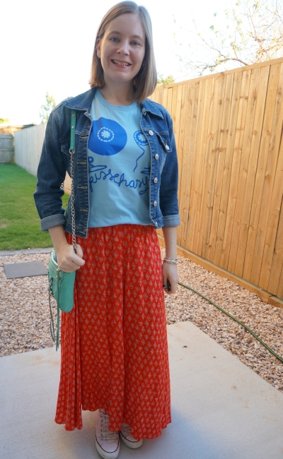 colourful maxi skirt and band tee outfit converse and denim jacket | away from blue