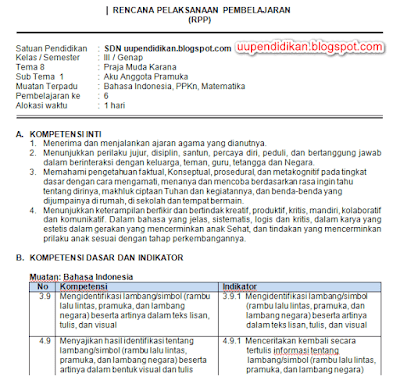 Download RPP Kelas 3 Tema 8 Kurikulum 2013 Revisi 2018