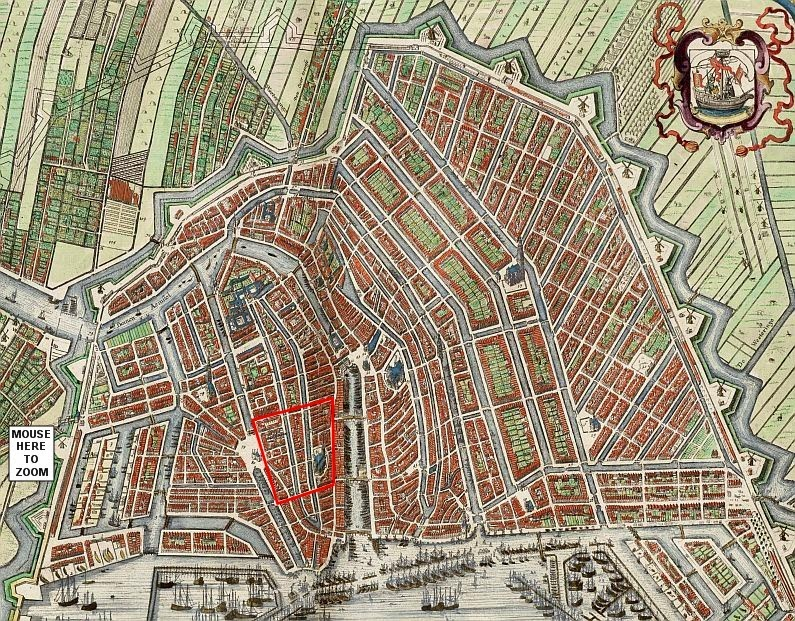 This map shows Amsterdam in 1649, the streets in the Red Light District area are almost the same nowadays. The Red Light District has been marked in red.