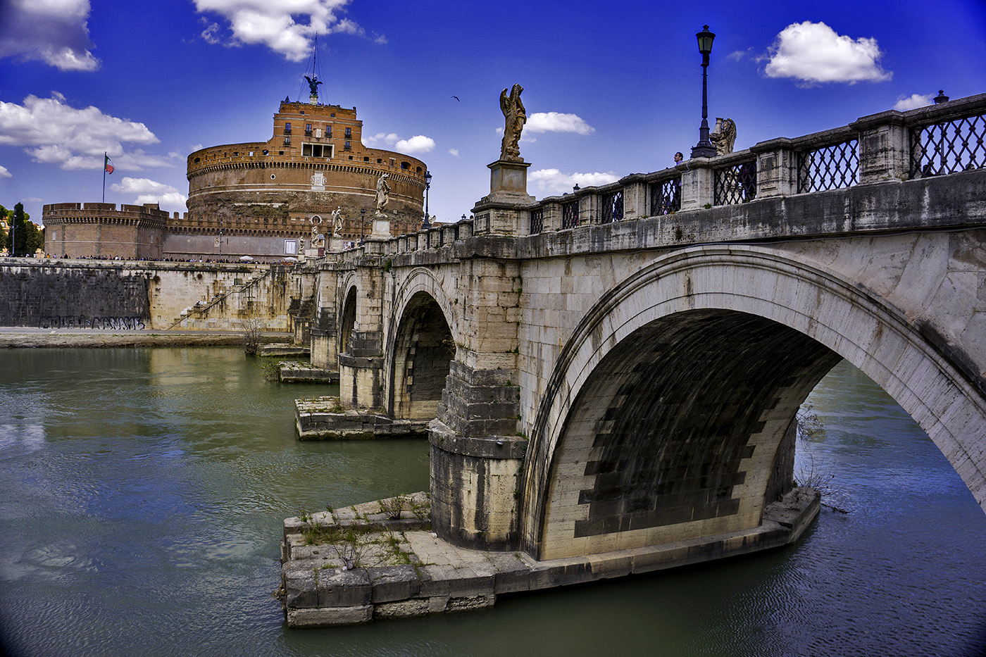 Castel Sant'Angelo and Ponte Sant'Angleo in Rome, Italy