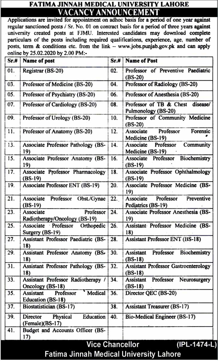 Fatima Jinnah Medical University Jobs For Assistant Director, Assistant Professor and Others February 2020 (41 Posts)