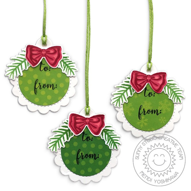 Sunny Studio Stamps Mini Red and Green Bow Gift Tags by Mendi Yoshikawa (using Season's Greetings and Holiday Style Stamps, Scalloped Circle Tag dies and Holiday Cheer 6x6 Paper)