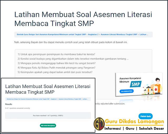 Soal dan Referensi Jawaban Latihan Membuat Soal Asesmen Literasi Membaca Tingkat SMP