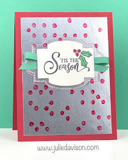 VIDEO: Stampin' Up! Tag Buffet Christmas Card + Polka Dot Mask Background ~ www.juliedavison.com #stampinup