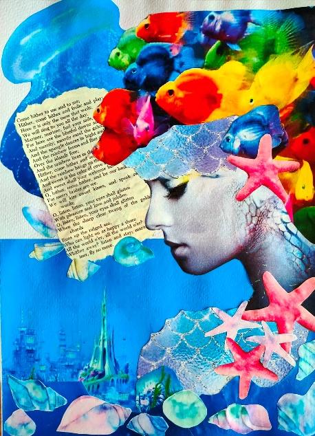 paper collage - mermaid