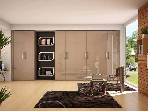 Modern beige colour bedroom wardrobe design