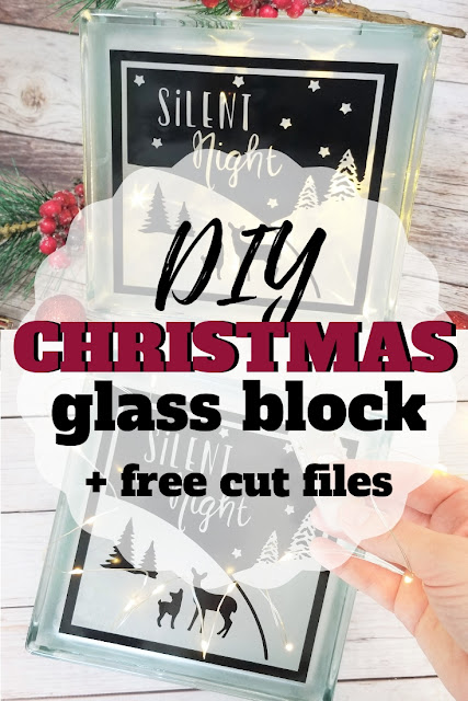 How to Decorate a Glass Block + Free Holiday Cut File