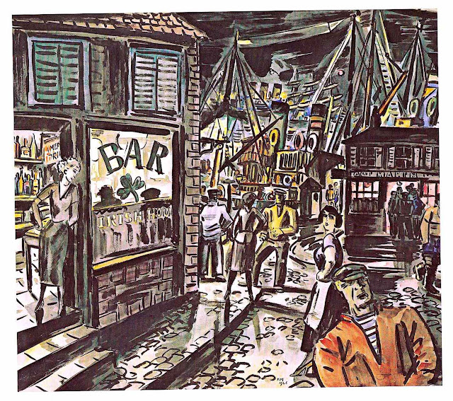 Frans Masereel, waterfront nightlife