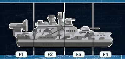 Figure: Let's creep up on the enemy Captain, by using camouflage. On which section of the ship do you see the word RANK written?
