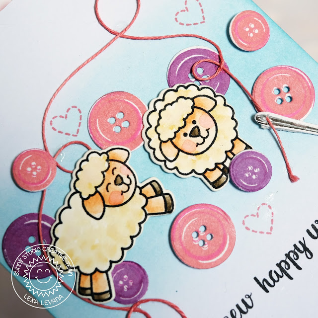 Sunny Studio Stamps: Missing Ewe and Cute As A Button Friendship Card by Lexa Levana