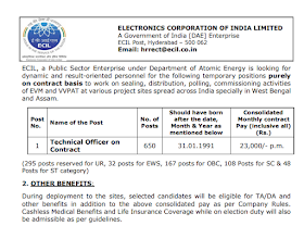 ECIL Vacancy 2021 इलेक्ट्रॉनिक्स कॉर्पोरेशन ऑफ इंडिया लिमिटेड (Electronics Corporation of India Limited)