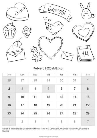Calendario febrero 2020 de san valentín de méxico