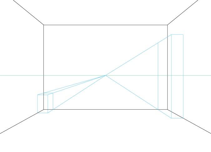 Satu titik perspektif menggambar furnitur latar belakang