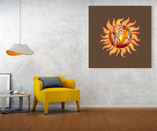 Watercolor of the Sun print on canvas in room interior decor