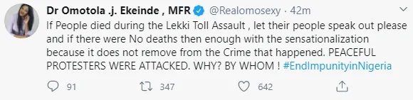 Omotola Apologizes And Deletes Her Tweets, Shares Video Confirming People Died At Lekki Toll Gate