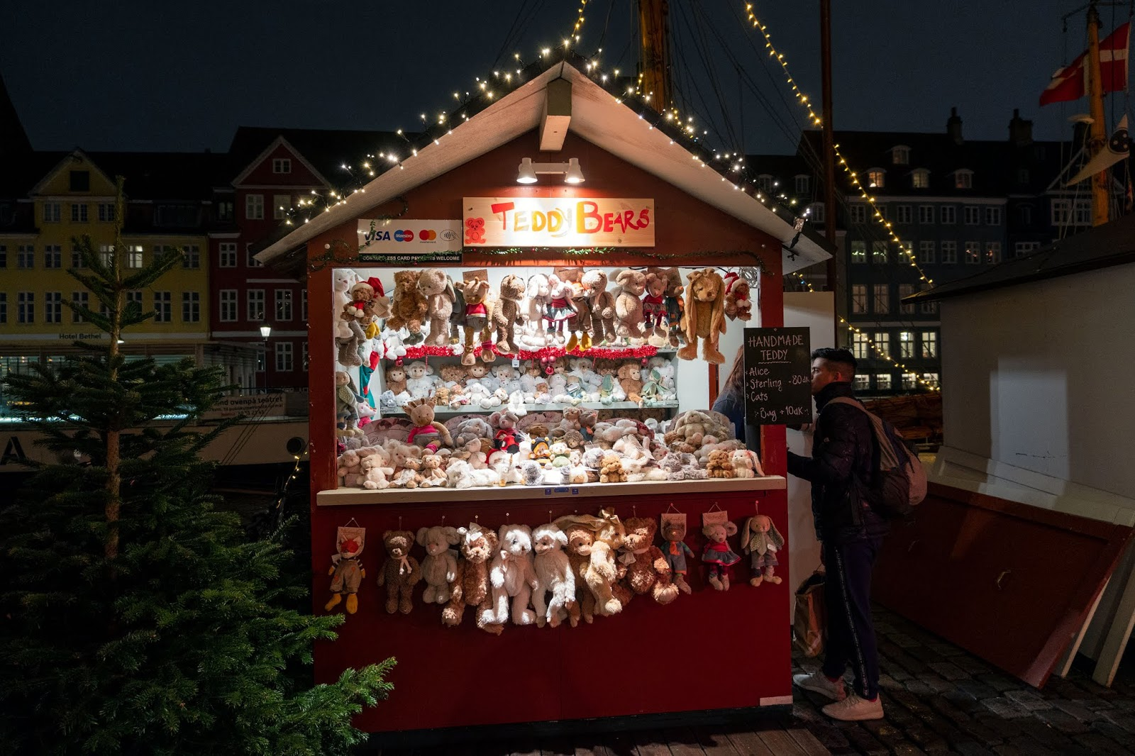 Teddy bear stall at the Nyhavn Christmas Market in Copenhagen, Denmark
