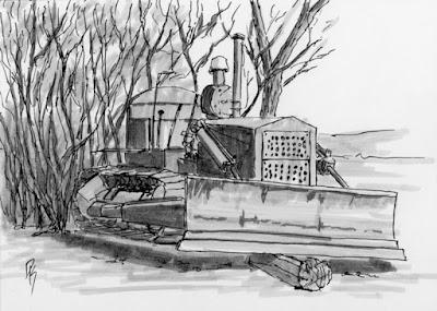 art sketch pen drawing abandoned bulldozer