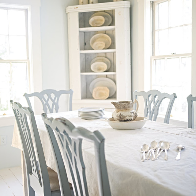 cottage white dining room