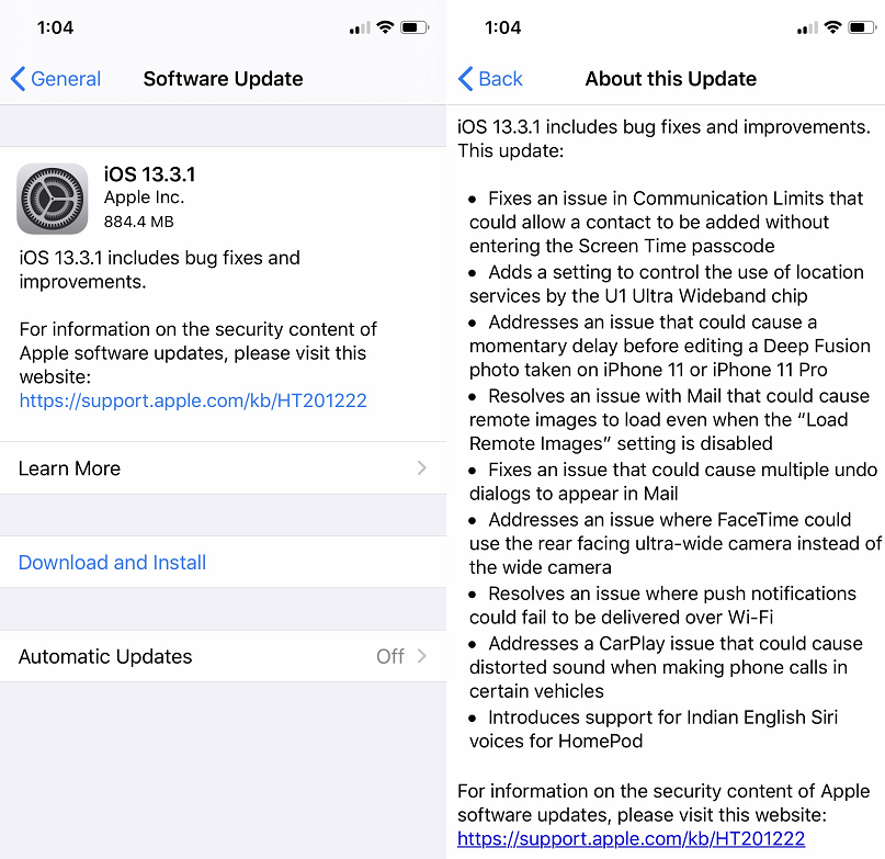 Apple iOS 13.3.1 Features Changelog