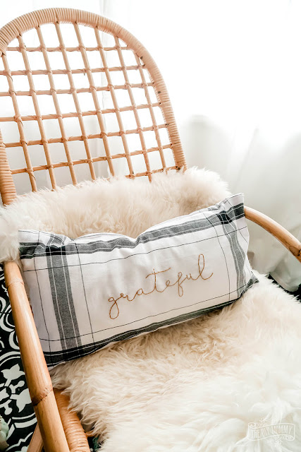 DIY fall pillow made from dollar store towels