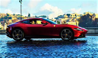 Farrari Roma car side view on action