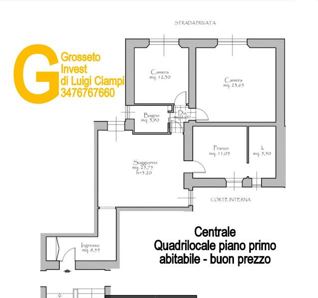 Immagine della planimetria di appartamento su  Ximenes, Centro, Grosseto, Agenzia Immobiliare Grosseto Invest