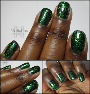 Additional shots of green glitter manicure featuring Nubar 'Greener' and LA Girl Glitter Addict 'Purge' on dark skin