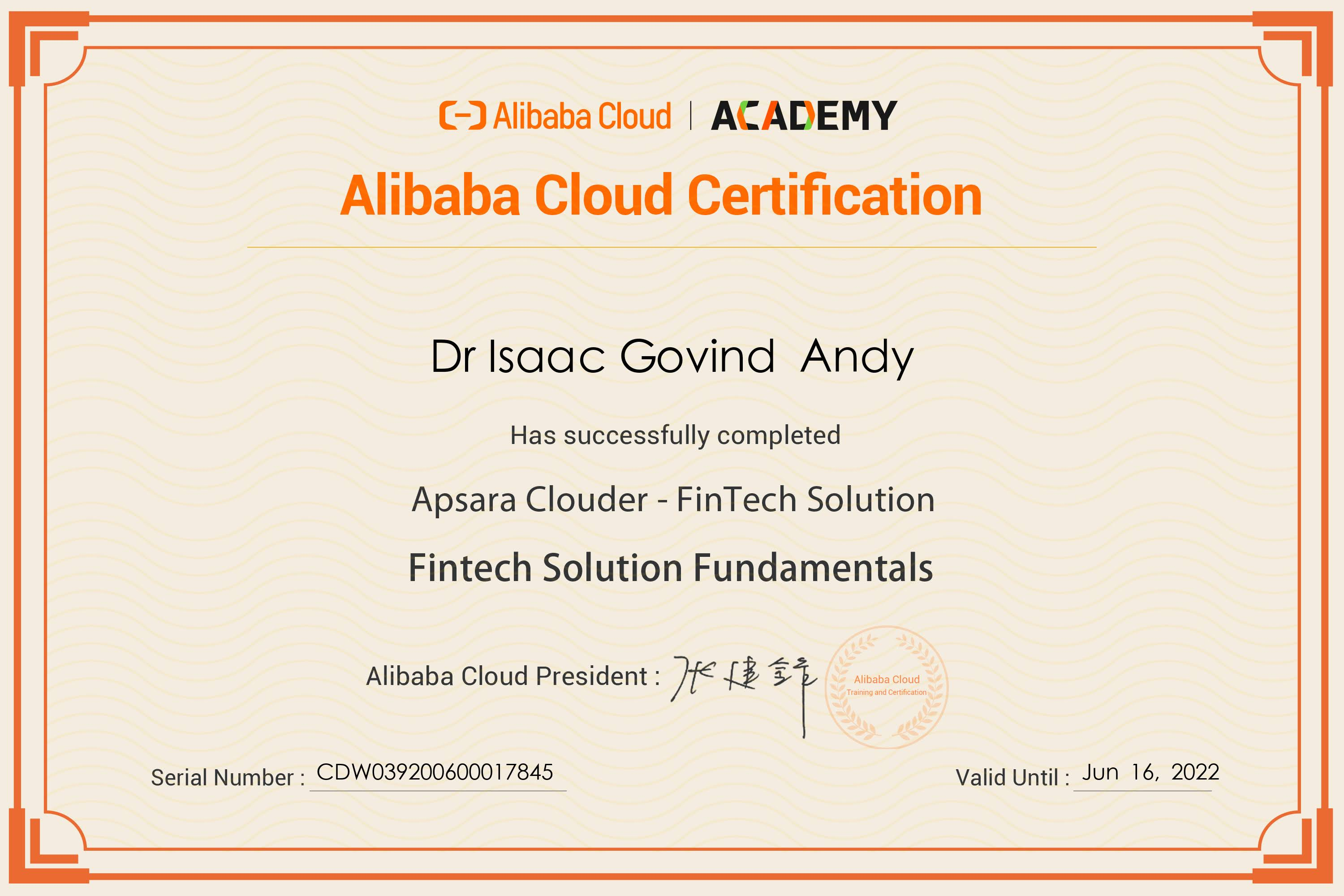Fintech Solution Fundamentals Completion Certificate