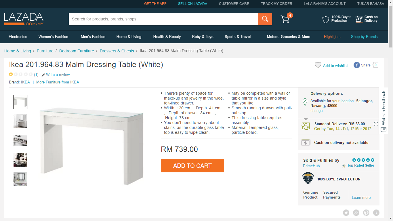 Lala Rahim Hadiah Gift Voucher Ikea 1 Home Living Dressing Table