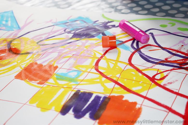 Kandinsky shape art for kids using paint sticks