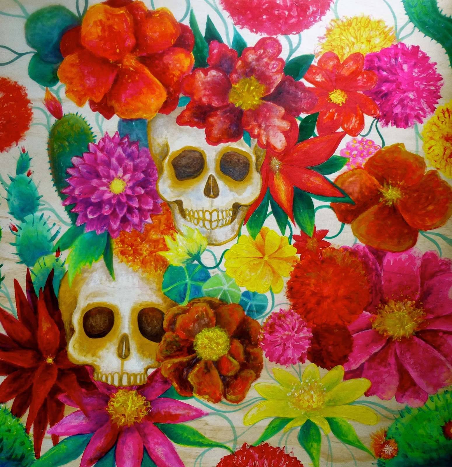 artist illustrator of all thing magical and creative   Mexican     Mexican flower   skulls acrylic painting by Melanie Dann