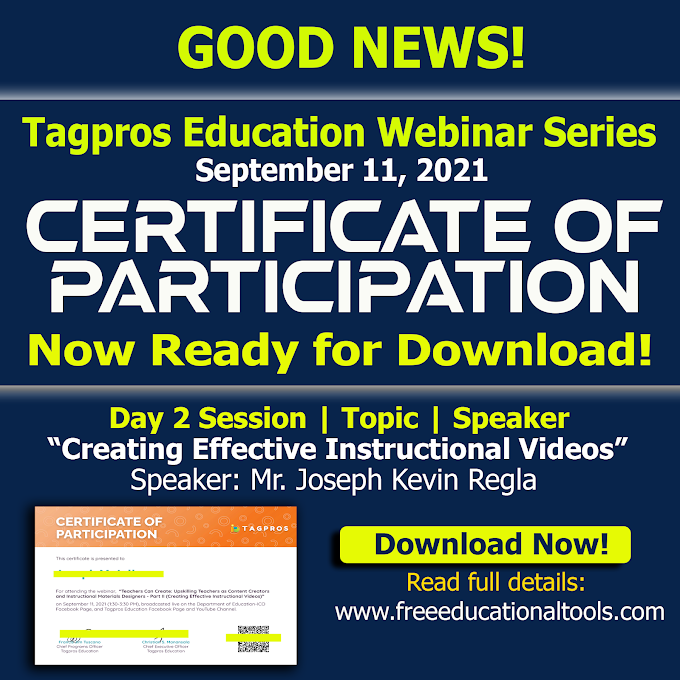 Tagpros Education Certificate of Participation for Day 2 Session September 11, 2021 is now ready for Download!