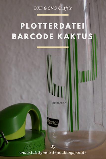 Kaktus aus Vinylfolie auf einer Trinkflasche, Plotterdatei Barcode Kaktus, Beispiel von Omnom.de
