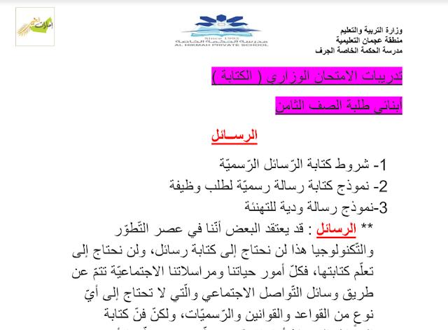 تدريبات لامتحان الكتابة لغة عربية صف ثامن فصل أول