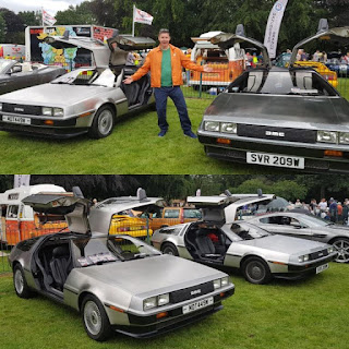 Two DMC DeLoreans at the Didsbury & South Manchester Car Show