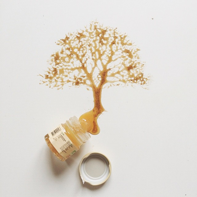 03-Honey-Tree-Bernulia-Doodle-Drawings-and-Paintings-with-Food-Art-www-designstack-co