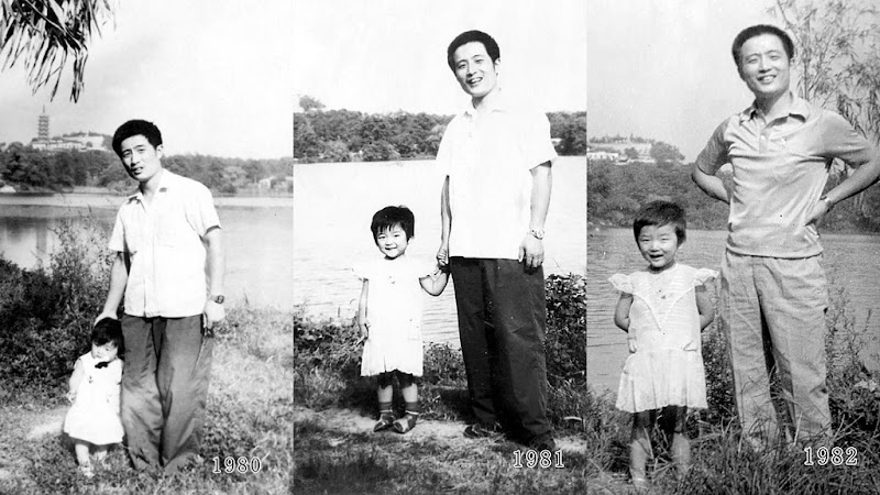 Memories of two fathers taking a family photo in the same place for 40 years