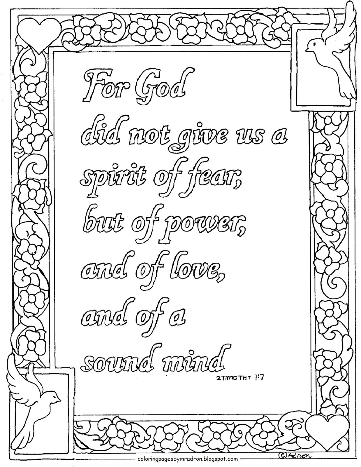 Coloring Pages For Kids By Mr Adron 2 Timothy 1 7