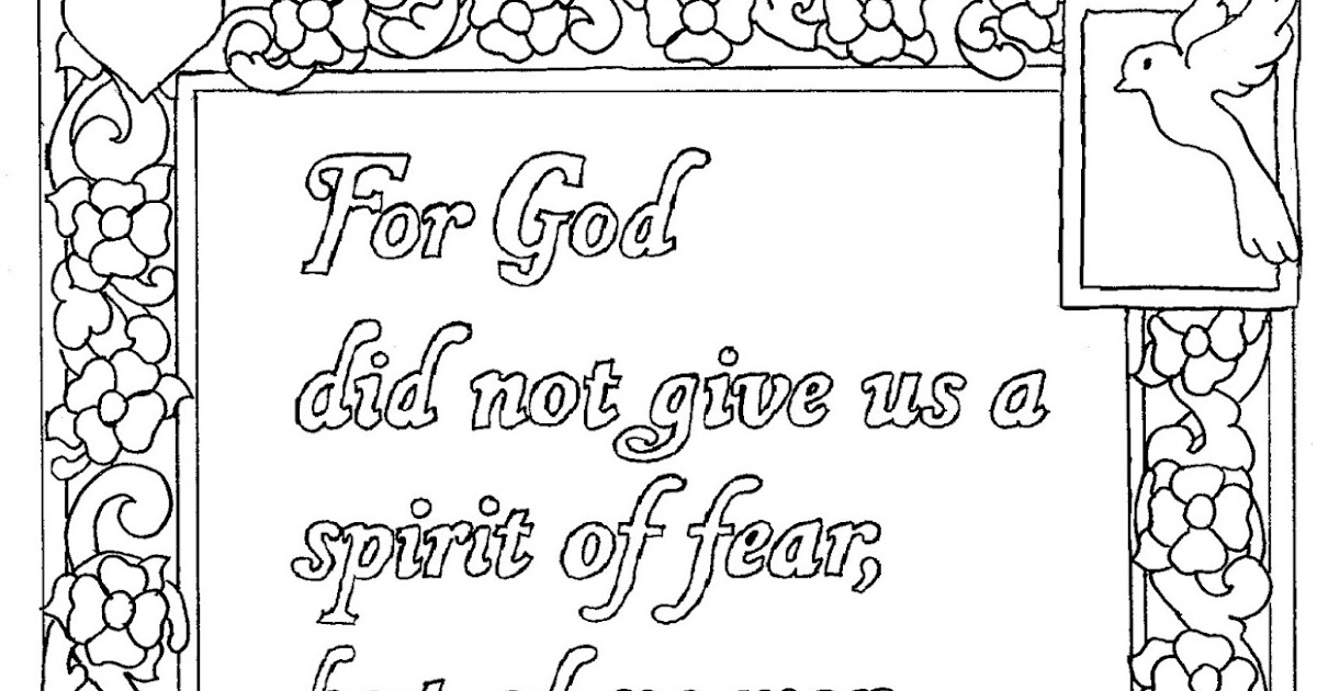 Coloring Pages for Kids by Mr. Adron: 2 Timothy 1:7