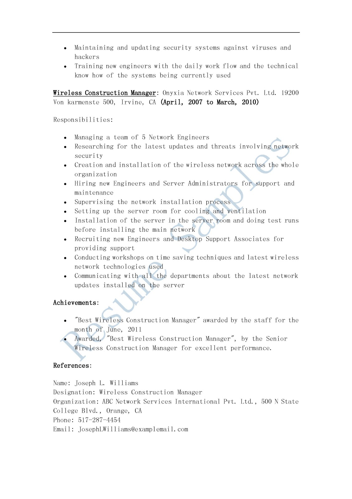 Supervisor Resume Examples 2012 Resume Samples Wireless Construction Manager Resume