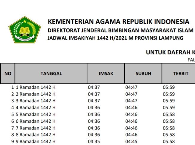 Jadwal Imsakiyah Ramadhan 2021 Waykanan & Buka Puasa Ramadhan 1442 H, Mulai 1 Ramadhan 1442 H