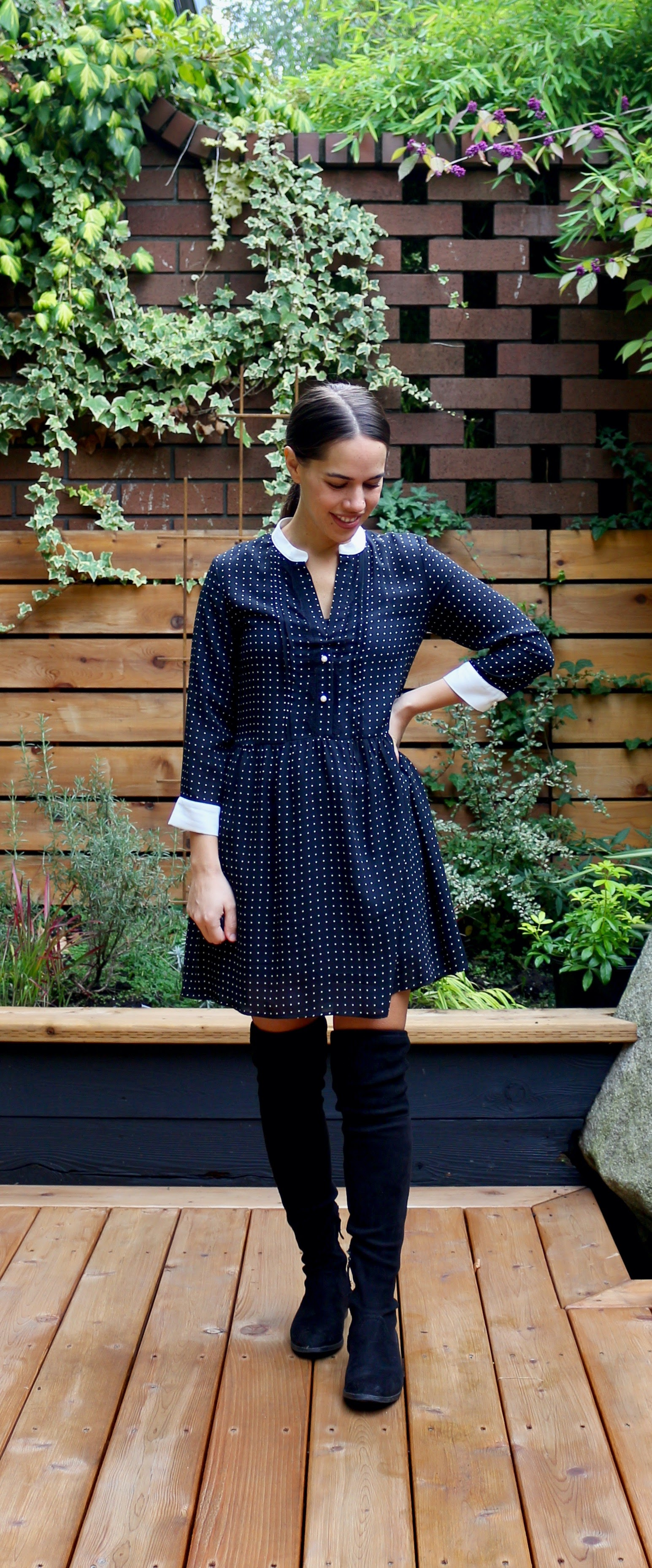 Jules in Flats - Polka Dot Swing Mini Dress with OTK Boots (Business Casual Workwear on a Budget)