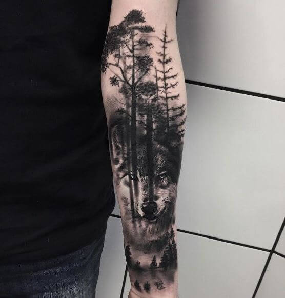 Wolf forearm Tattoos