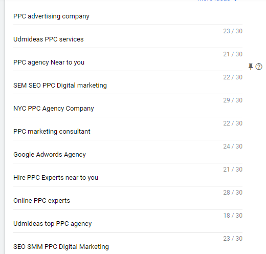 set headlines in Google Ad for UDMIDEAS