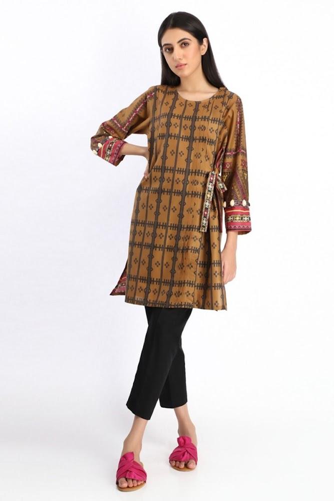 khaadi brown printed kurta