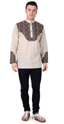 Contoh model baju muslim terbaru pria motif batik