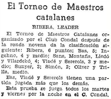 II Torneo de Maestros Catalanes 1936, recorte de prensa